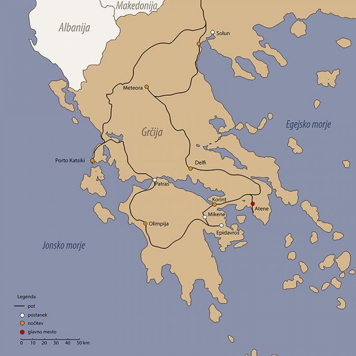 zemljevid potovanja po grčiji z avtomobilom
