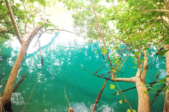 smaragdno zelena barva vode na izviru v Blue Lagoon