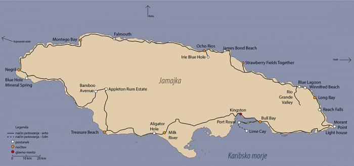 zemljevid potovanje jamajka - načrt potovanja Jamajka