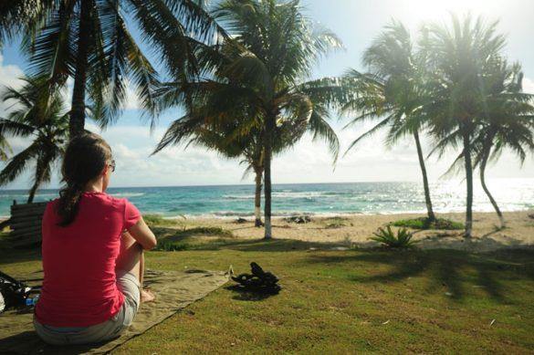 Katarina sedi na plaži pod palmami