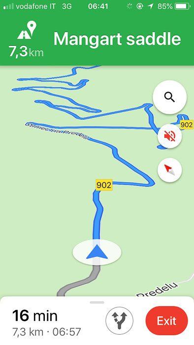 Google maps navigacija na Mangartsko sedlo