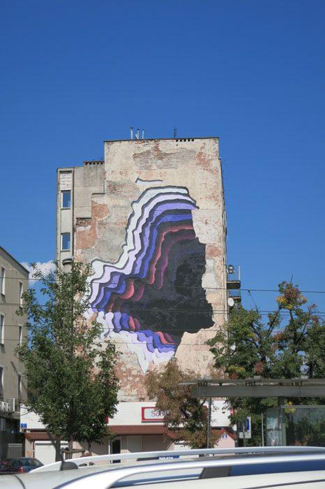 grafit na stanovanjskem bloku, Praga , Varšava