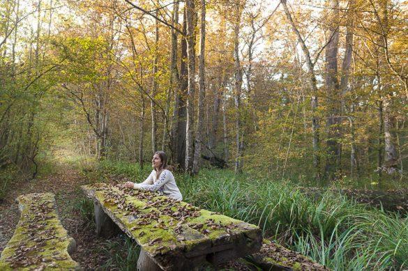ženska sedi pri mizi v gozdu