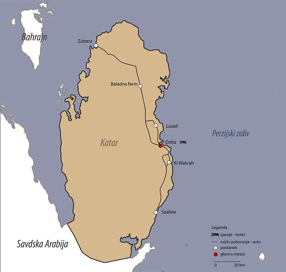 Načrt potovanja po Katarju z zemljevidom