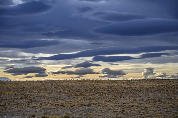 oblaki na večernem nebu nad Patagonijo