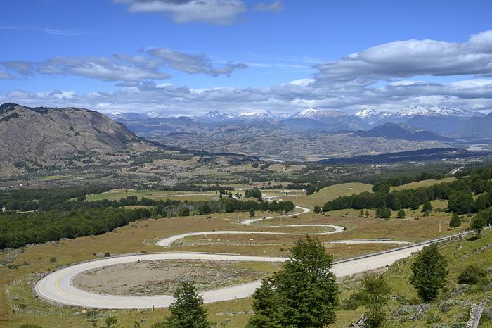 zavita cesta Carratera Austral in pogled na gore