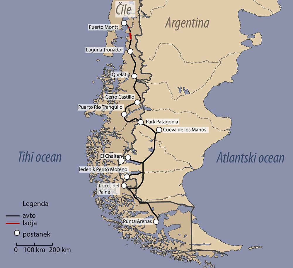 Zemljevid načrt potovanja Patagonija