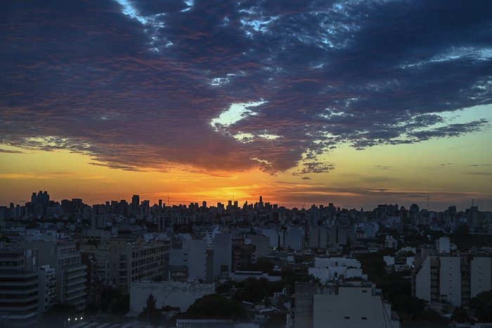 sončni vzhod v Buenos Airesu