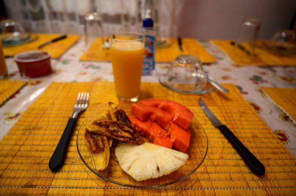 zajtrk v Braziliji: svež ananas in papaja