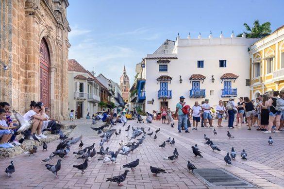 trg z golobi, Cartagena, Kolumbija