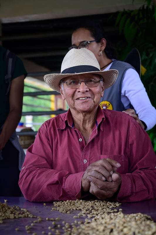 kolumbijec pregleduje kavna semena
