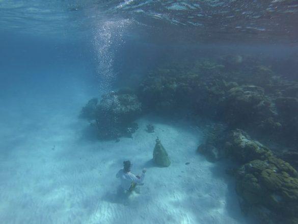 potapljač s kipom marije pod vodo otok Francisky