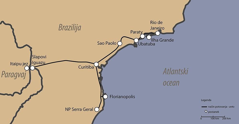 zemljevid načrt potovanja brazilija