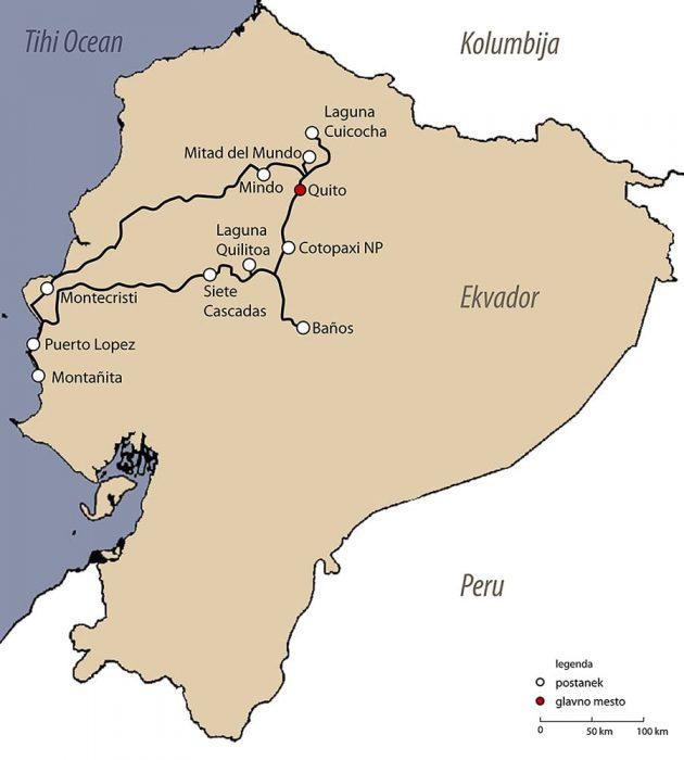 zemljevid potovanja po Ekvadorju