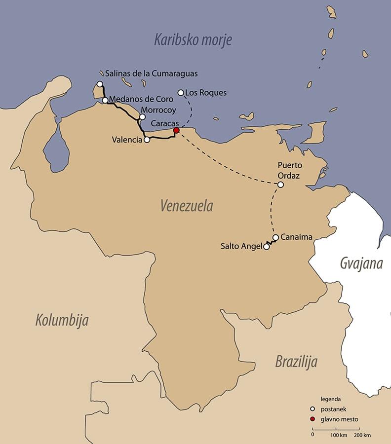 zemljevid potovanja po Venezueli