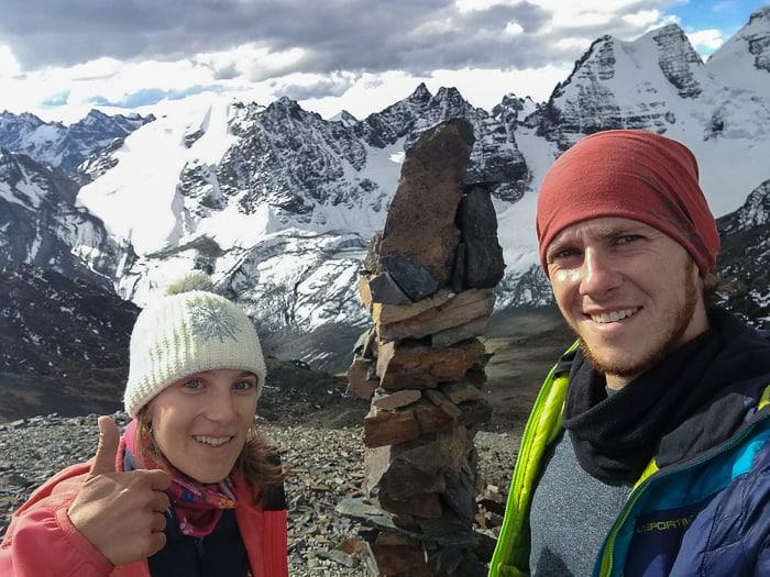 moški in ženska na vrhu gore Pico Austria, Bolivija