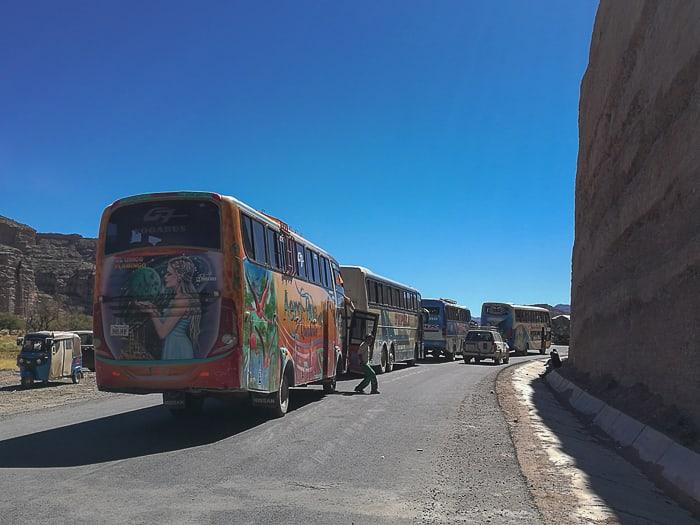 zastoj avtobusov v Boliviji