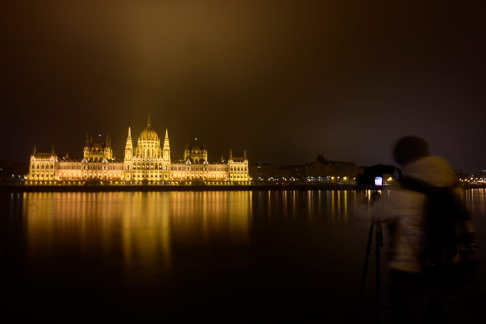 parlament ponoči, budimpešta