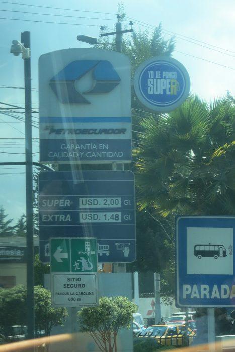 cena bencina v Ekvadorju