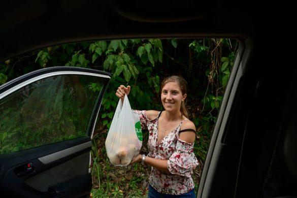 ženska z vrečko mangov