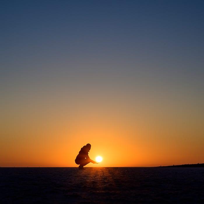 sončni vzhod Chot El Jerid, Tunizija