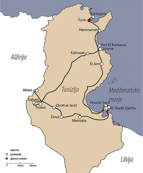 načrt potovanja: Tunizija zemljevid