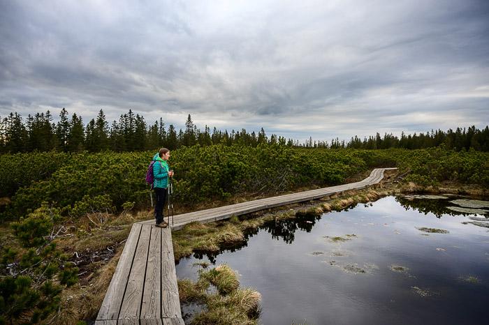 ženska na leseni potki ob črnem jezeru