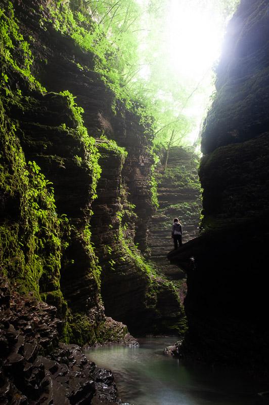 ozek in vlažen kanjon, pot do slapu Kozjak