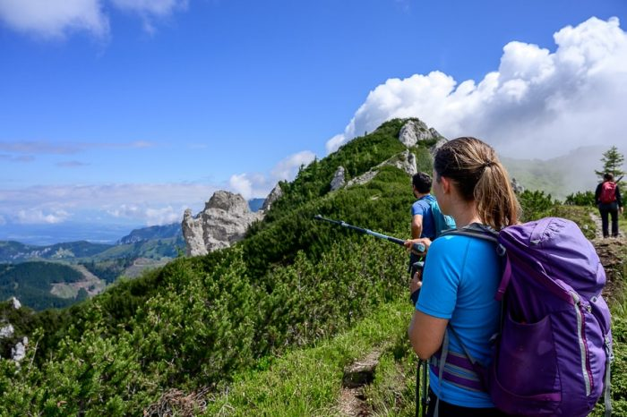 ženska v gorah s palico kaže v dolino