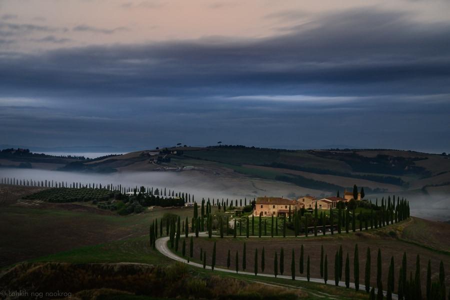 Toskana - opečnata hiša in topoli, drevored topolov, jutro v Toskani
