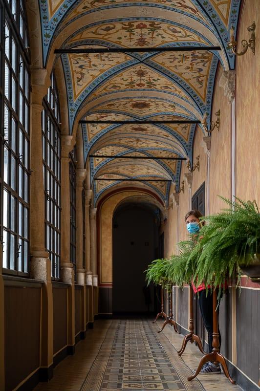 grajski hodnik s freskami po stropu