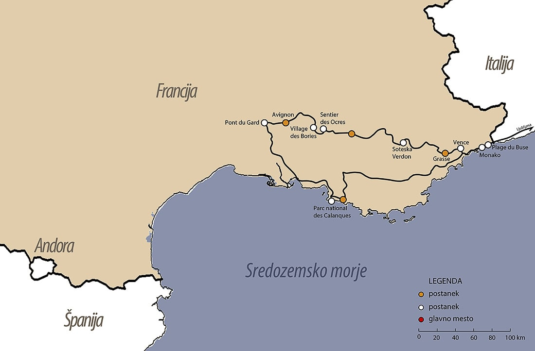 zemljevid potovanja Provansa. Načrt potovanja Provansa