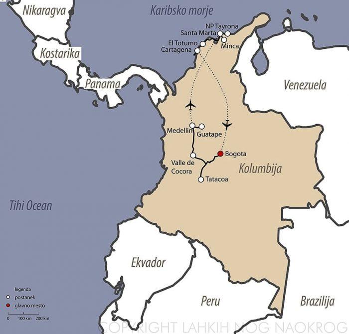 zemljevid potovanja po Kolumbiji