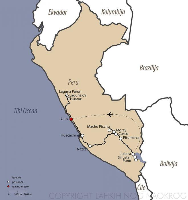 zemljevid potovanje Peru