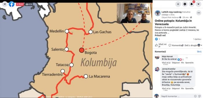 Facebook live potopisno predavanje Lahkih nog naokrog - Kolumbija
