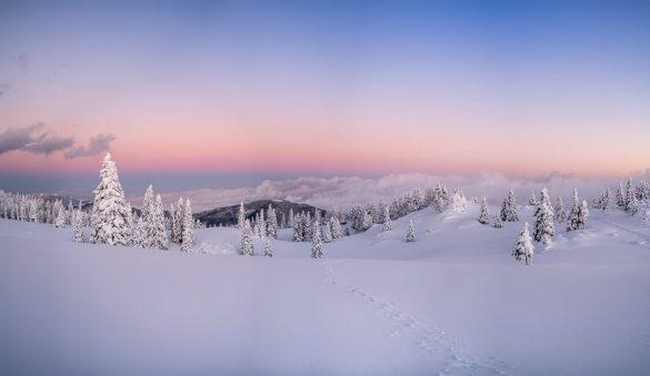 sončni zahod v gorah, Velika planina