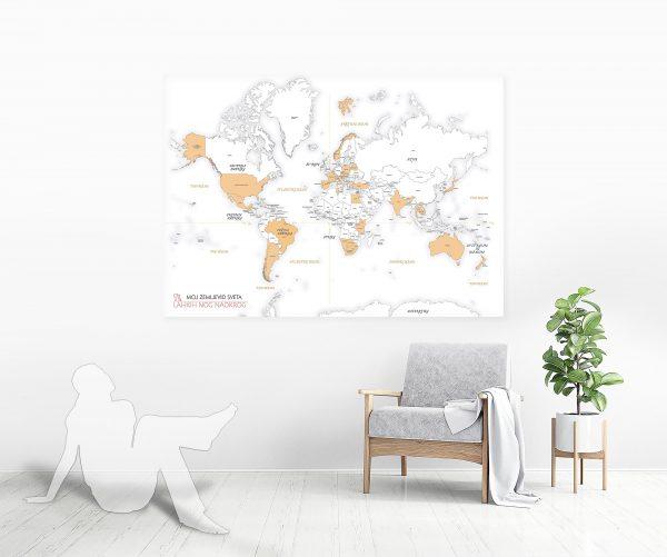 enobarven zemljevid sveta plakat na steni, mockup