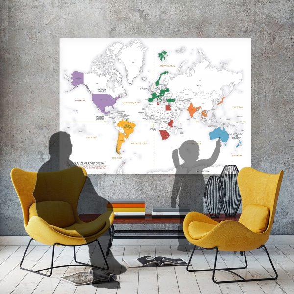 pisan zemljevid sveta plakat na steni, mockup