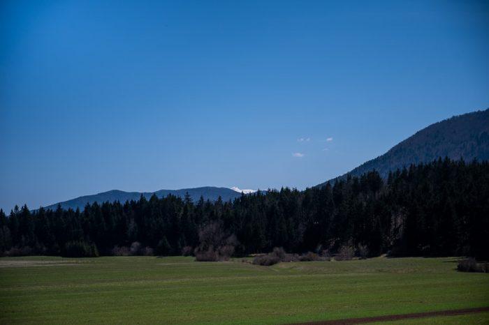 zasnežena gora v daljavi