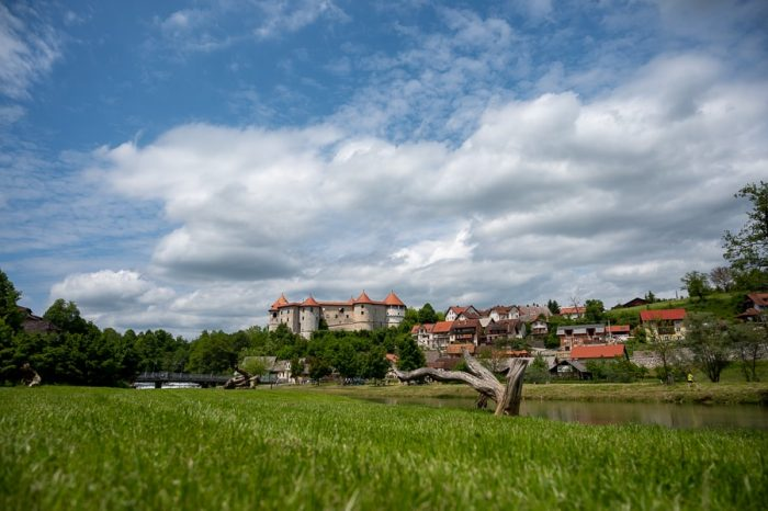 zelen travnik in grad žužemberk v ozadju
