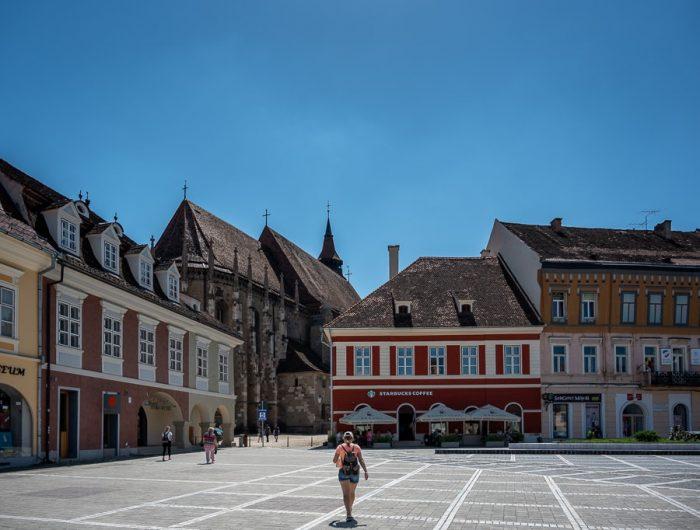 glavni trg v mestu Brašov, Romunija potovanje