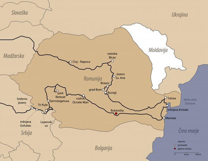 zemljevid Romunija, načrt potovanja Romunija