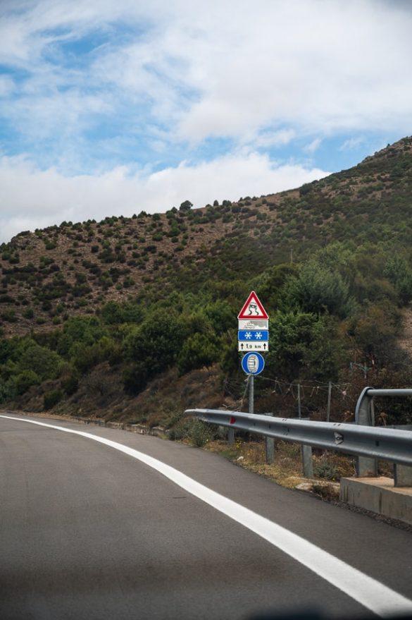 prometni znak za nevarnost zdrsa v primeru snega in obvezno zimsko opremo na sardiniji