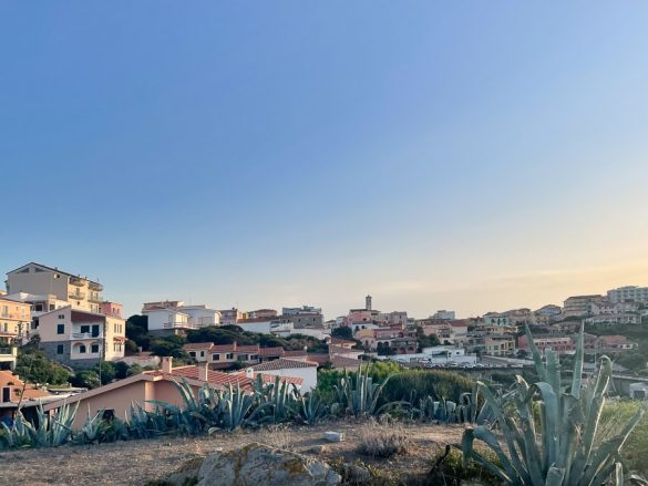 kraj Santa Teresa Gallura na Sardiniji v sončnem zahodu. Spredaj so kaktusi, zadaj serkev na hribčku, okoli hiške. Top znamenitosti Sardinije so tudi prikupne vasice
